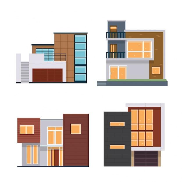 Modern Flat Residential House Illustration Set Free Vector