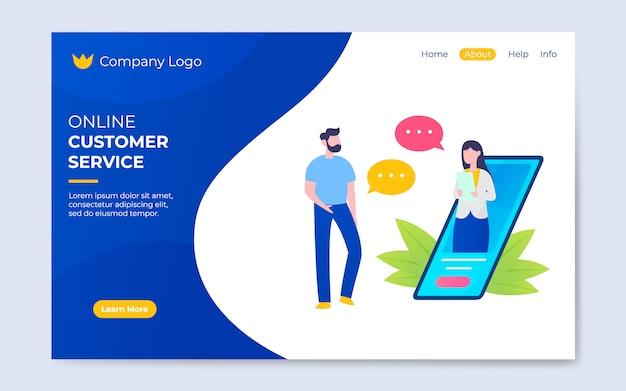 Modern flat style online customer service illustration Premium Vector