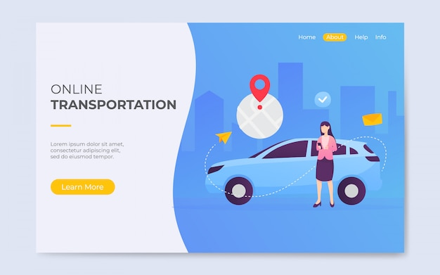 Modern flat style online taxi transportation landing page illustration Premium Vector