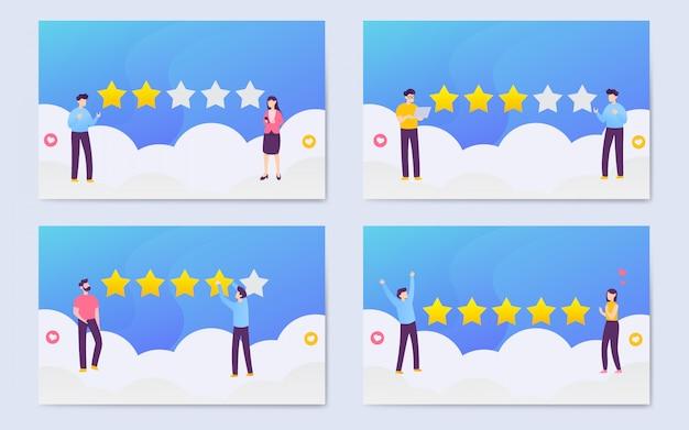 Modern flat user rating illustration background set Premium Vector