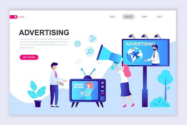 Modern flat web page design template of advertising Premium Vector