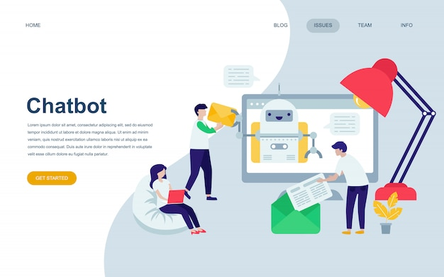 Modern flat web page design template of chat bot Vector