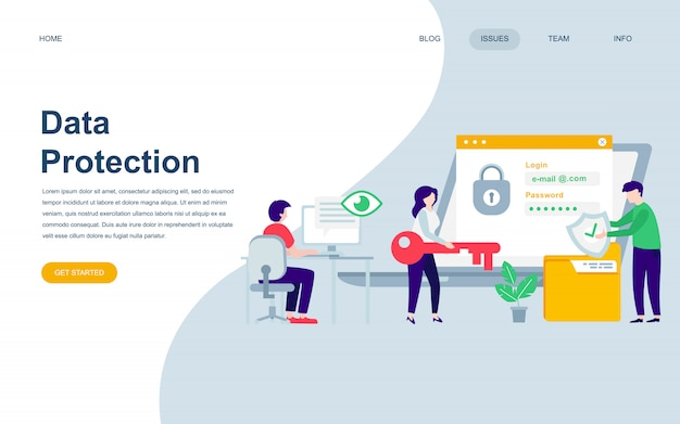Modern flat web page design template of data protection Premium Vector