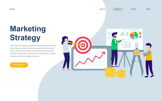 Modern flat web page design template of marketing strategy Premium Vector