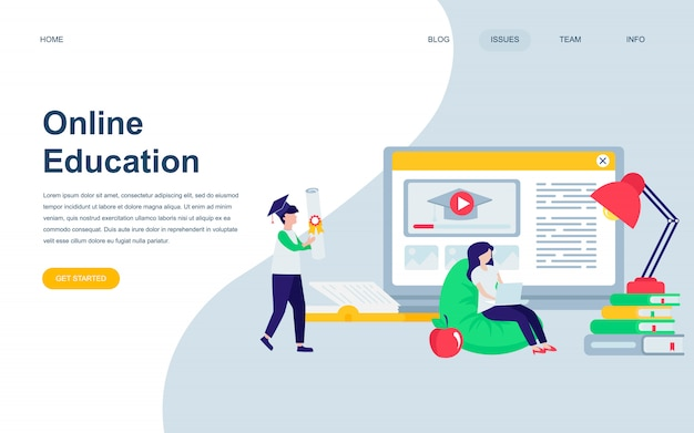 Modern flat web page design template of online education Premium Vector
