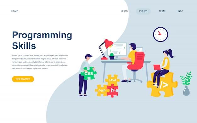 Modern flat web page design template of programming skills Premium Vector