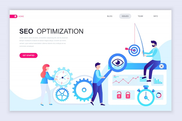 Modern flat web page design template of seo analysis Premium Vector