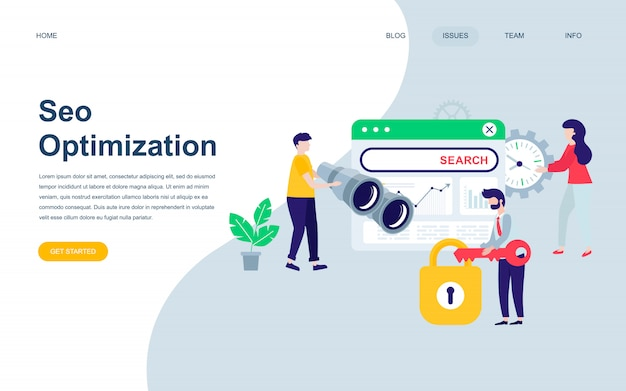 Modern flat web page design template of seo analysis Premium Vector