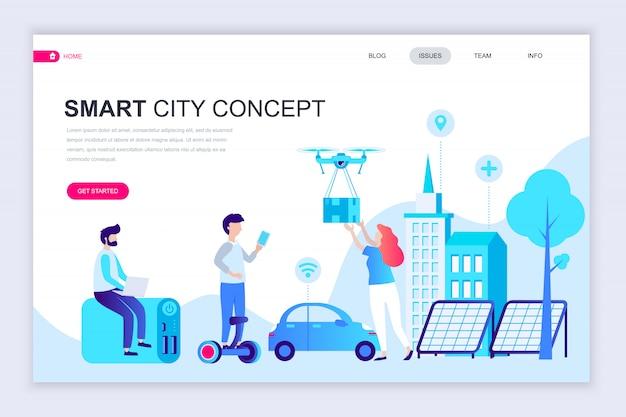 Modern flat web page design template of smart city Premium Vector