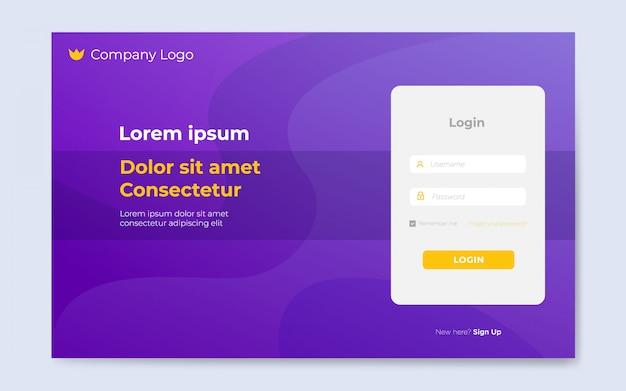 Modern flat website login page templates Premium Vector