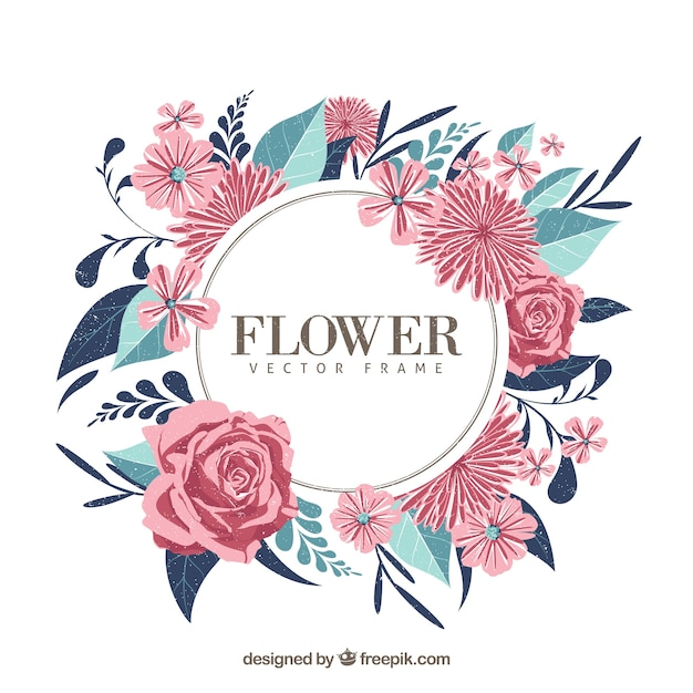 Modern Floral Frame With Variety Of Flowers Vector Free Download