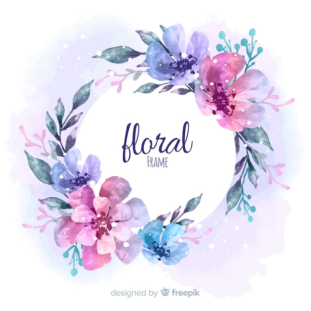 modern floral frame with watercolor style vector