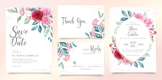 Modern floral wedding invitation card template set with elegant watercolor flowers and leaves. Premium Vector