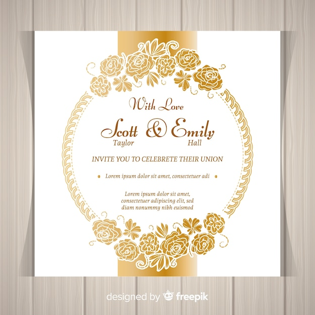 Modern floral wedding invitation template with golden frame vector modern floral wedding invitation template with golden frame free vector stopboris Image collections