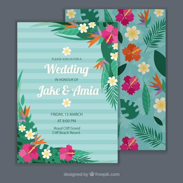 Modern Floral Wedding Invitation Template Vector Free Download - Wedding invitation templates: royal blue wedding invitation templates free