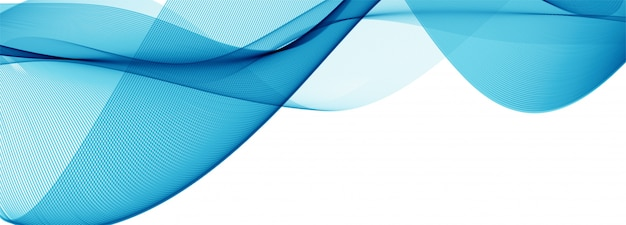 Modern flowing blue wave banner on white Free Vector