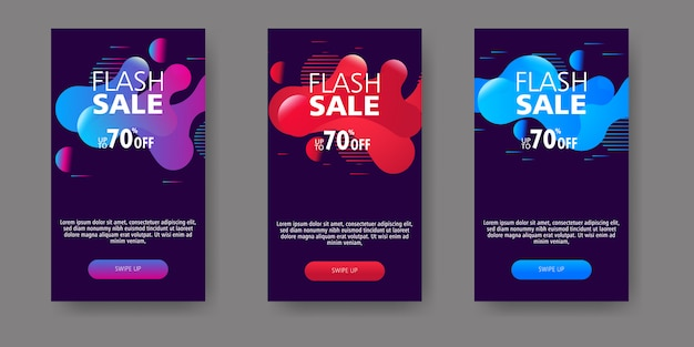 Modern fluid mobile for flash sale banners. sale banner template design, flash sale special offer set. Premium Vector