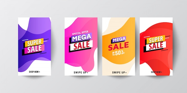 Modern fluid mobile sale banners template set Premium Vector