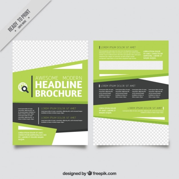 Modern Flyer Template In Green And Grey Colors Vector  Free Download