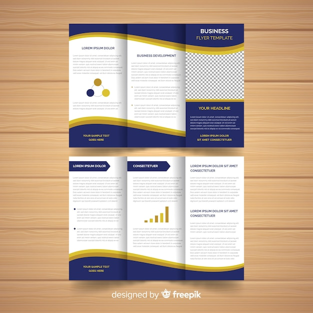 Modern flyer template with infographic elements Free Vector