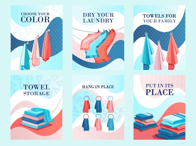 Modern flyers design for towels store. hotel, laundry or shop advertisement with text. textile and fabric concept. template for promotional leaflet or brochure Free Vector