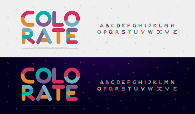 Modern font creative rounded alphabet color fonts Premium Vector