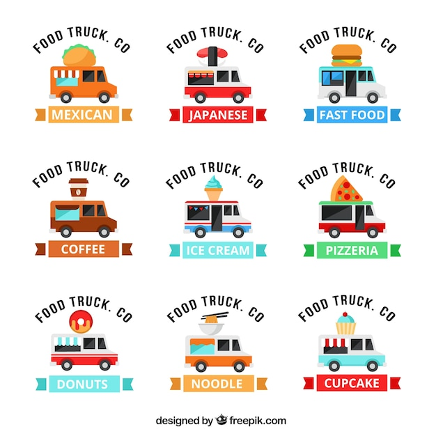 Modern food truck logo collection