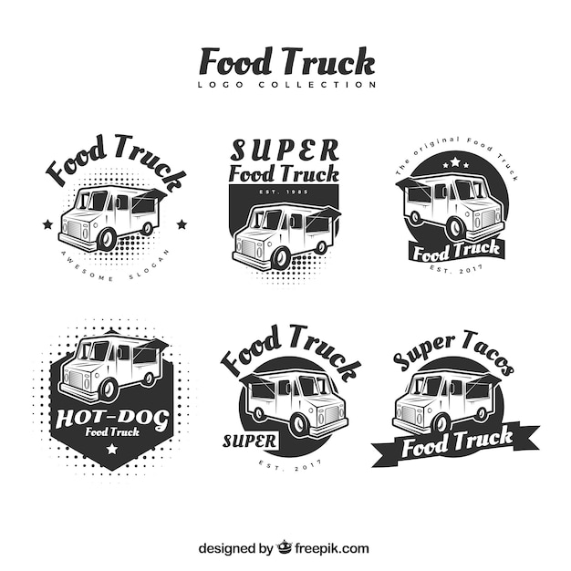 Modern food truck logos with original\ style