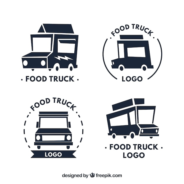 Modern food truck logos with truck