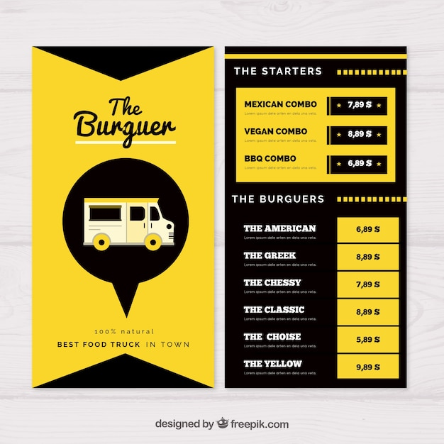 Modern food truck menu template