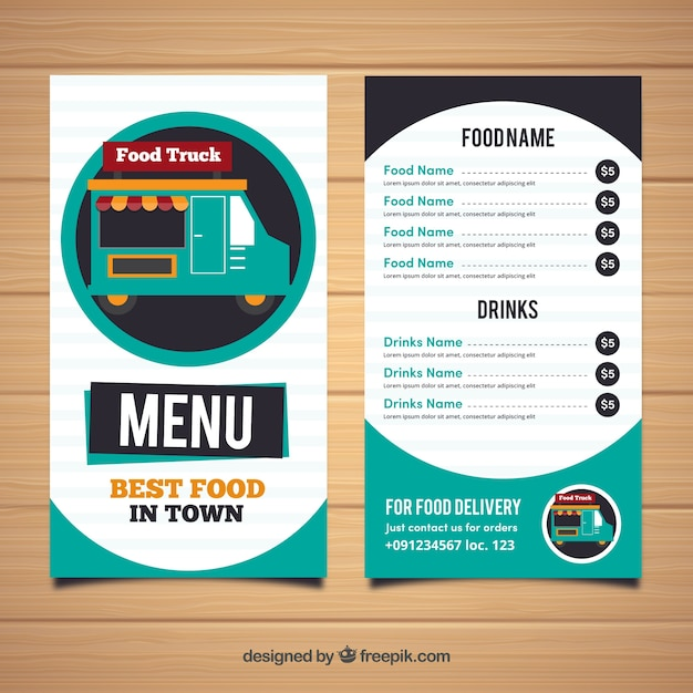 Modern food truck menu with circles