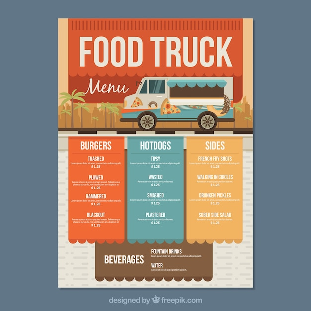 Modern food truck menu with colorful style