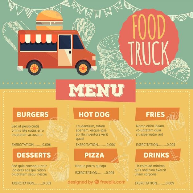 Modern food truck menu with fast food