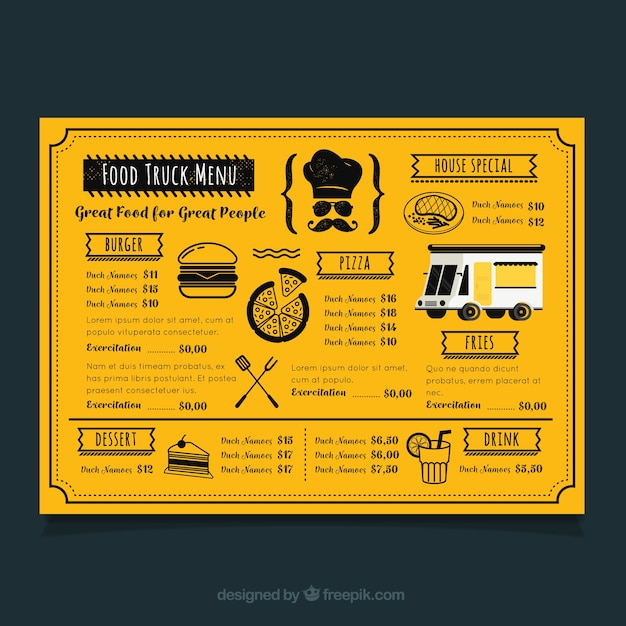 modern food truck menu with flat design vector free download