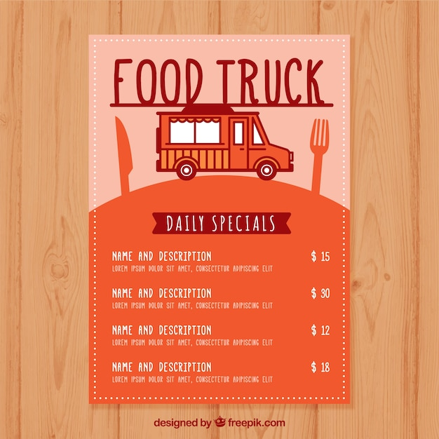 Modern food truck menu with flat design