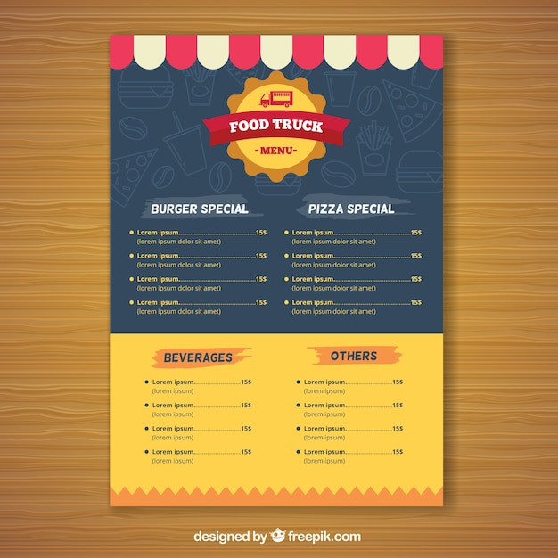 Modern food truck menu with flat design Free Vector
