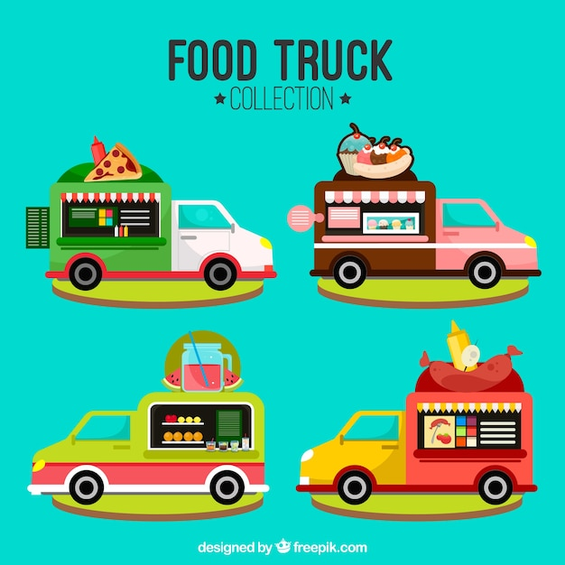 Modern food truck pack with flat design
