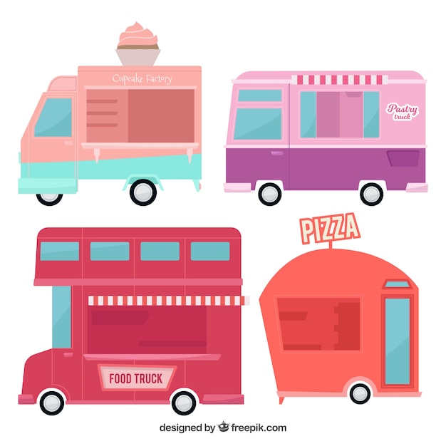 Modern food trucks with cute style
