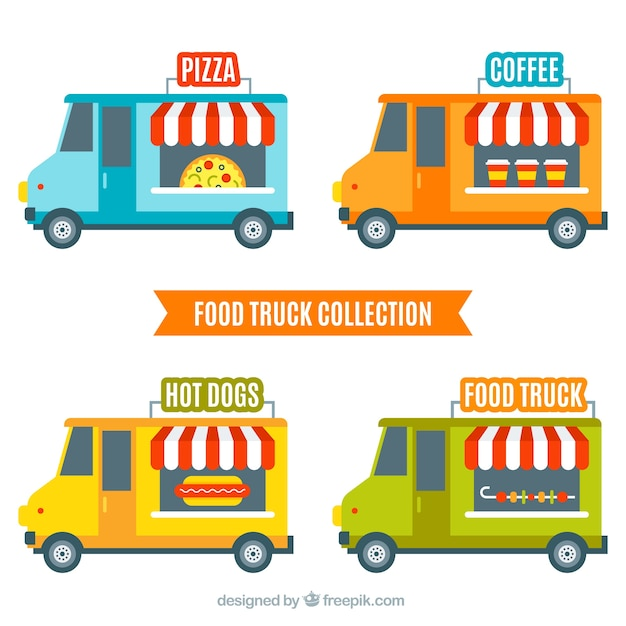 Modern food trucks with fun style