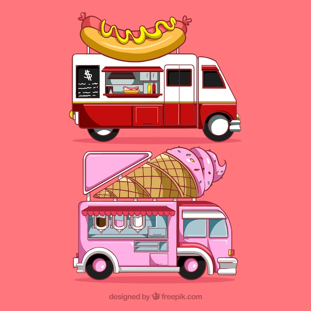 Modern food trucks with hand drawn style