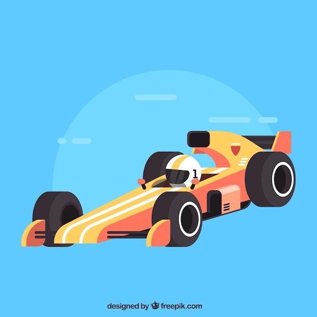 Modern formula 1 racing car with flat design Free Vector