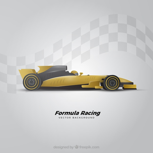 Modern formula 1 racing car with realistic design Free Vector