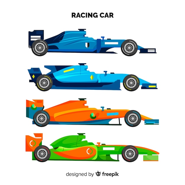 Modern formula 1 racing cars collection Free Vector