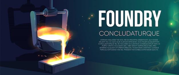 Modern foundry factory realistic banner or poster. pouring molten metal from steel ladle Free Vector