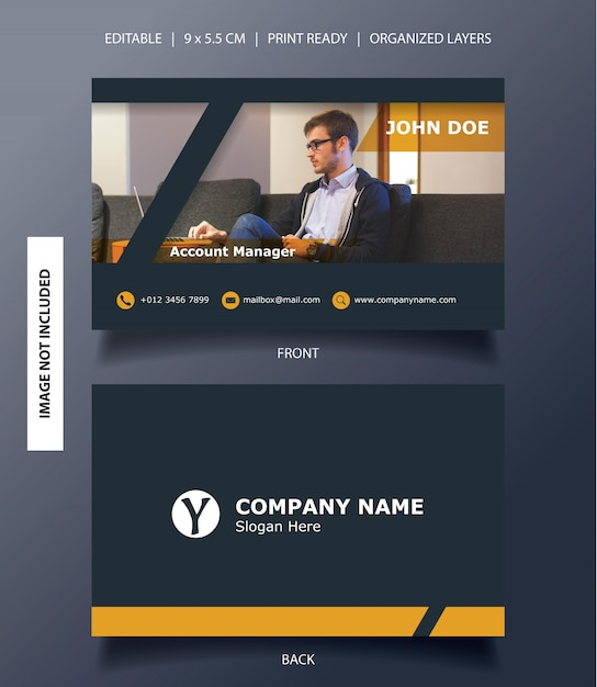 Modern frame business card template Premium Vector