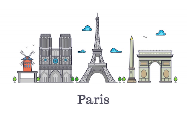 Modern france travel line landmark, paris panorama vector illustration Premium Vector