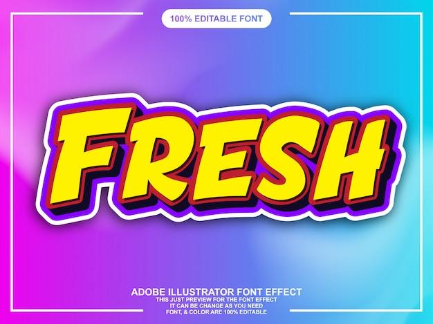 Modern fresh comic style font effect Premium Vector