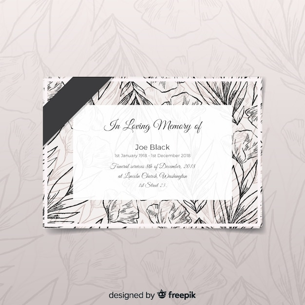 Modern funeral card with elegant style Free Vector