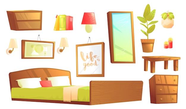 Modern furniture for bedroom interior design elements. Free Vector