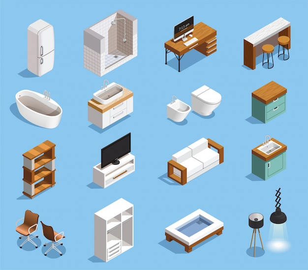 Modern furniture icons collection Free Vector